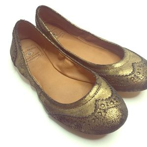 Lucky Brand Edies Ballet Flats Gold Black Lace